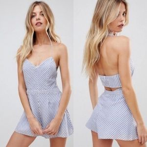 The Jetset Diaries Haven Romper Chambray Stripe